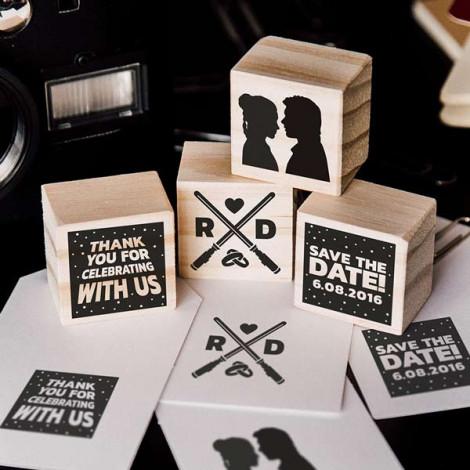 """Pack de 4 sellos de boda """"La Fuerza"""""""