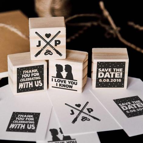 "Pack de 4 sellos de boda ""I love you. I know"""