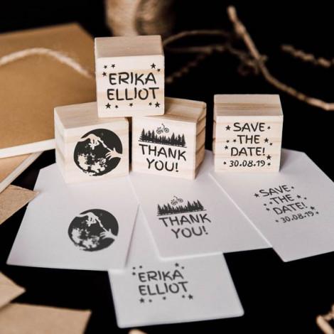 """Pack 4 sellos boda """"Amor de otro planeta"""""""