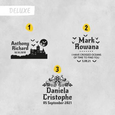 Elige el modelo de sello de boda Deluxe si lo quieres añadir en las opciones de producto