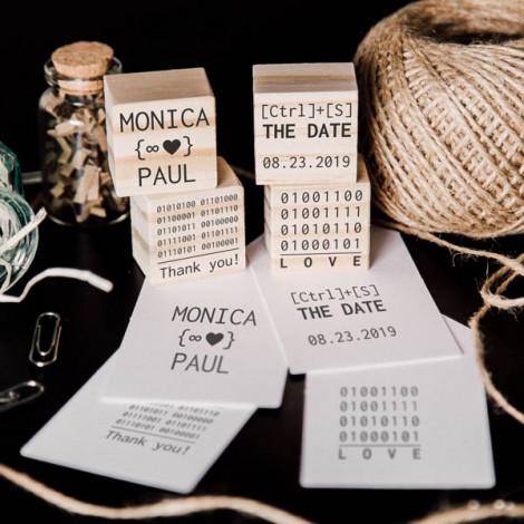 """Pack 4 sellos de boda """"Código binario"""""""