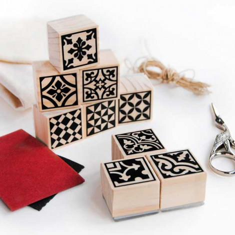 Pack 9 sellos Baldosas Hidráulicas Modernistas