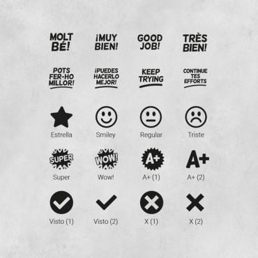 Elige los iconos que necesites. Escribe las opciones en PERSONALIZACIÓN y selecciona la cantidad que necesites.