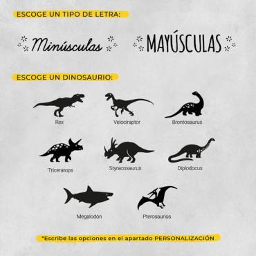 Elige la especie de dinosaurio favorita y el tipo de letra