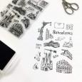 Sellos ilustrados scrapbooking album viaje Barcelona por Sira Lobo para biterswit