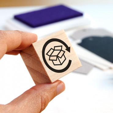 Sello de madera con icono Reciclable