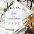 Mini sellos en inglés con iconos de menú para marcasitios boda