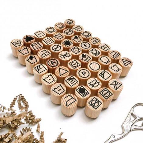 Mini sellos Símbolos Lavado y Secado