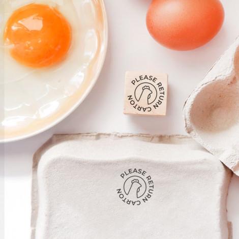 """Sello cartón huevos """"Devuelve Huevera"""" - Gallina"""