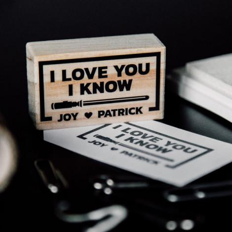 """Sello de boda """"I love you. I know"""""""